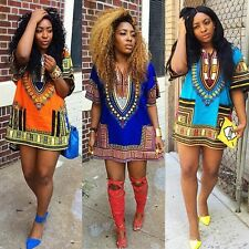 Lady African Dashiki Shirt Kaftan Boho Hippe Gypsy Party Festival Tops Dress Hot