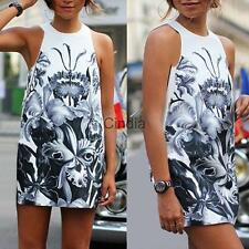 Popular Women Sexy Fashion Sleeveless Printing Slim Round Neck Dress Party Dress