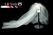 IVORY 2 TIER CRYSTAL DIAMANTE ALL OVER WEDDING BRIDAL VEIL ANY LENGTH 151 UK