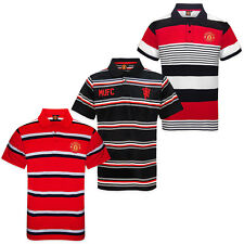 Manchester United Football Club Official Soccer Gift Mens Striped Polo Shirt