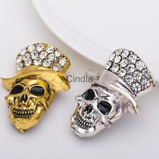 Vintage Halloween Jewelry Crystal Rhinestone Hat Skull Brooch Pins Gold/Silver