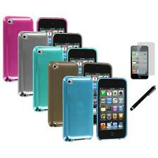 TPU Plain Rubber Jelly Case Cover+LCD Film+Stylus for iPod Touch 4th Gen 4G 4