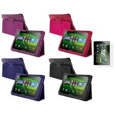 PU Leather Folio Pouch Case Cover Stand+Screen Protector for Blackberry Playbook