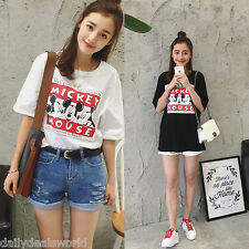 Korea New Women's Loose Cotton Short Sleeve cartoonPrint T-Shirt Tee Blouse Tops