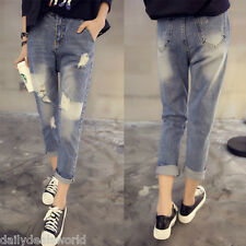 Korea New cutout Jeans Destoyed RIPPED DISTRESSED Women's Loose Denim Trousers