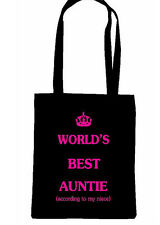 WORLDS BEST AUNTIE AUNT AUNTY TOTE SHOPPING BAG BIRTHDAY GIFT MOTHERS DAY MOM