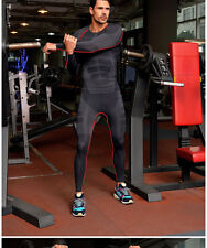 Mens Fitness Compression GYM Tight Pants Running Skin Base Layer Leggings red