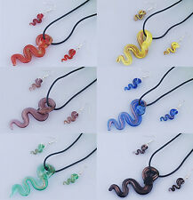 Murano glass snake necklace and earring set
