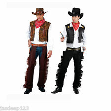Cowboy Mens New Wild Western Adults Fancy Dress Costume Halloween Black Brown