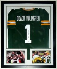 MIKE HOLMGREN AUTOGRAPHED GREEN BAY PACKERS JERSEY JSA COA FRAMED & 2 8X10 PHOTO