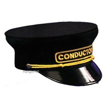 Railroad Conductor Hat Train Black Mens Cloth Rental Quality Visor Cap Uniform