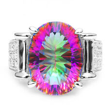 Women 11ct Genuine  Fire Rainbow Topaz Ring Solid 925 Sterling Silver Hot