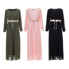 Womens Ladies Plain Long Jilbab Design Maxi Abaya Kaftan Casual Dress Farasha