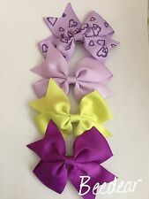 """Handmade Pair 3.5"""" Grosgrain Ribbon Easter/Party/Holiday Ponytail Bow Clips Grip"""