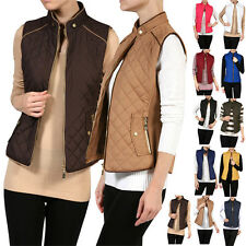 Women Sleeveless Zip Up Lightweight Quilted Padded Puffy Vest Barbor Jacket Coat