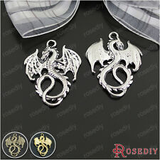 10PCS 34*27MM Zinc Alloy Dragon Charms Pendants Jewelry Findings 25229