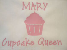 Personalised Cupcake Apron Have any message added, Apron in pink, white, black