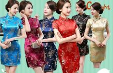 Chinese Charming Women's Dragon&Phoenix Silk Cheongsam Mini Evening Dress Qipao
