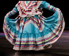 Girls Jalisco Dress With Super Wide Skirt Flow For Folklorico Dance Handmade New