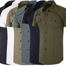 Military Style Mens SUMMER Short Sleeve Slim Fit  Casual Shirts Party Dress Tops