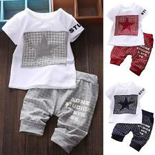 Summer Baby Kid Boys Short Sleeve T-shirt Tops +Pants Casual Outfits Cloth Suit