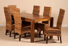 6-SEATER SOLID MANGO & ABACA RATTAN/CANE DINING TABLE AND CHAIRS SET FURNITURE