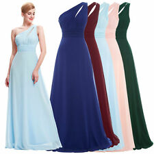 One-shoulder Chiffon Formal Wedding Bridesmaid Dress Evening Gown Prom Pageant