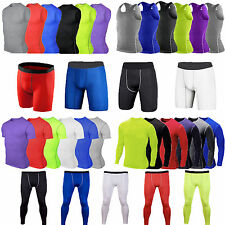 Mens Baselayer Compression Tights Tops T-shirt Skins Pants Shorts Gym Sportswear