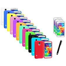 For Samsung Galaxy S5 SV Silicone Rubber Case Cover + Stylus+3X Film