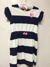 Gymboree Girls Size 6 Blue white Striped Short Sleeve drees NWT