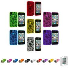 For iPhone 4S 4 TPU Dog Paw Puppy Print Soft Case Cover+Car Charger+LCD