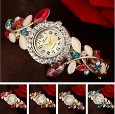 Quartz Rhinestone Vogue Women's Watch Silver Plated Bangle Flower Hot Bracelet