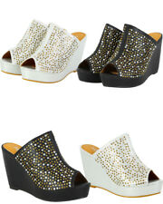 WOMENS LADIES GLITTER PLATFORM SLIP ON HIGH HEEL WEDGES MULES SANDALS SHOES SIZE