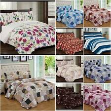 3PCS Quilted Bedspread with 2pillowcase Patchwork,Floral Single,Double,King Size