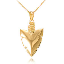 10k Yellow Gold Arrowhead Pendant Necklace Native Protection, Strength, Courage
