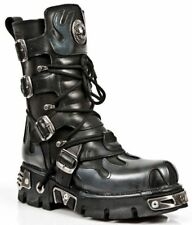 NEWROCK New Rock 591S2 Silver FLAME METALLIC BLACK LEATHER BOOT BIKER GOTH BOOTS