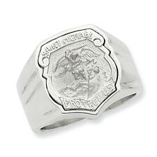 Sterling Silver Saint Michael Men's Ring 16.82 gr Size 9 to 11