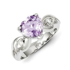 Sterling Silver Heart Shaped Lavender CZ Ring Size 6 to 8