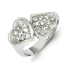 Sterling Silver Inverted Hearts Ring With Clear CZ 5.05 gr Size 6 to 8