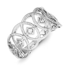 Sterling Silver Overlapping Circles Vintage Style Clear CZ Ring Size 6 to 8