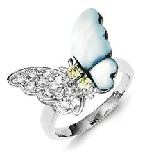 Sterling Silver Butterfly Ring Clear CZ & Mother Of Pearl 4.22 gr Size 6 to 8