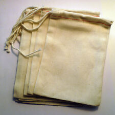 Cotton Muslin Bags with Red Hem and White Drawstrings
