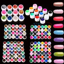 Manicure Nail Art Decor Solid Pure Glitter Mix Color Gel Acrylic UV Builder Sets