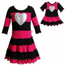 Dollie & Me Girl 4-14 and Doll Matching Pink Striped Dress Clothes American Girl