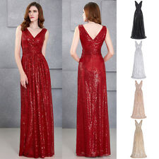 Sequins Long Formal Prom Dress Pageant Party Ball Gown Evening Bridesmaid Dress