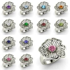 Round Cut AAA Birthstone 14k White Gold Solitaire Floral Design Ring, Certified