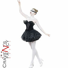 Black Swan Costume Gothic Masquerade Fancy Dress Womens Halloween Outfit New