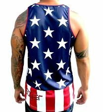 American Flag July 4th mesh tank top jersey sublimated 50 USA T shirt streetwear