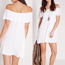 Sexy Women Off Shoulder Solid Mini Short Casual Beach Evening Party Shirt Dress