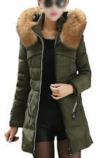 5X(Casual Winter Slim Thick Long Down Jacket Fur Collar Coat Overcoat Army) SP